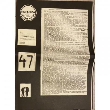 Tiskanica/ printed matter br. 47 novine, 1973. Umjetnost i ideologija Galerija SC